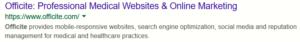 Officite meta tage description in Google search results